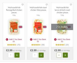 Various British Chicken Pieces (130g) £2.99 each but add 2 for 98p @ Waitrose Online/instore
