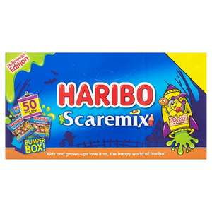 Haribo Scaremix Mega Box 800G (50 mini packs) was £4 now £2 instore @ Tesco ( Squashies Party Box 700G same Price)