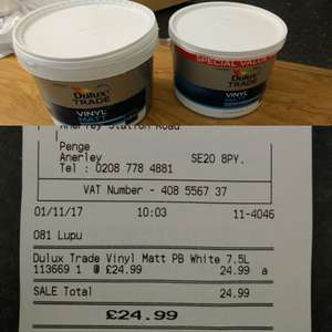 Dulux Trade vinyl matt brilliant white 7.5 L (in-store) Wickes - £24.99