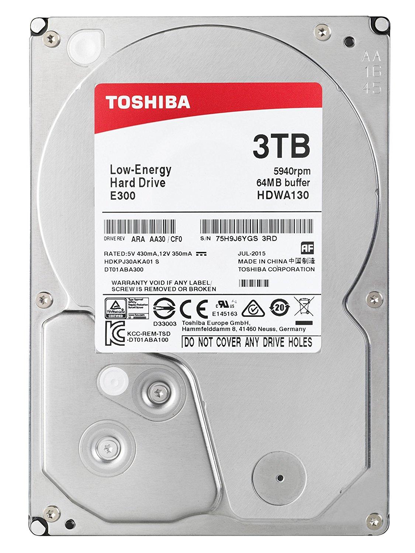 "Toshiba E300 3TB 5400RPM (low noise, low energy) 3.5"" SATA HDD £69.97 @ Amazon"