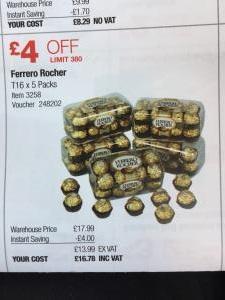 Ferrero Rocher 5x16 box (80 pieces) £16.78 @ Costco valid 6th - 26th November