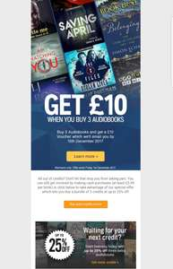 Any 3 Audible books for £13 and a £10 voucher as a reward so effectively £2.65 per book