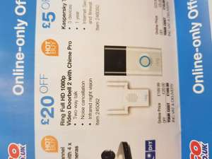 Ring Full HD 1080p Video Doorbell 2 with Chime Pro £169.99 @ Costco