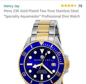 """Henry jay Men's 23k gold plated two tone stainless steel """"speciality aquamaster """" professional dive watch £69 Sold by The Glickery LLC and Fulfilled by Amazon"""