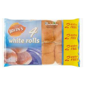 Irwin's 4 White Rolls +2 Free Half Price 50p @ Iceland Online and in store