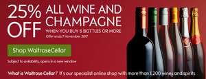 25% off 6 or More Bottles of Wine @ Waitrose cellar or IN-STORE!!r
