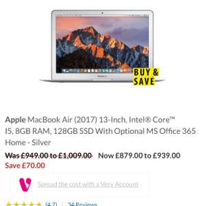 Apple MacBook Air £849(£749 after cash back) 2017 model ( Very )