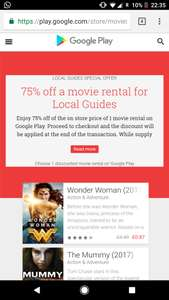 Local Guides Perks - 75% off movie rental & 3 month's Google music free @ Google