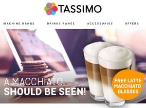 Free Tassimo latte macchiato glass (2 packs) when spent £30 @ Tassimo