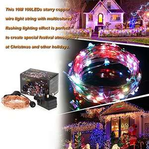 10m / 33ft 100LEDs Starry Copper Wire IP65 LED String Strip Light for Christmas Holiday Festival Decorations - £6.99 (Prime) £10.98 (Non Prime) @ Sold by G-Mile and Fulfilled by Amazon