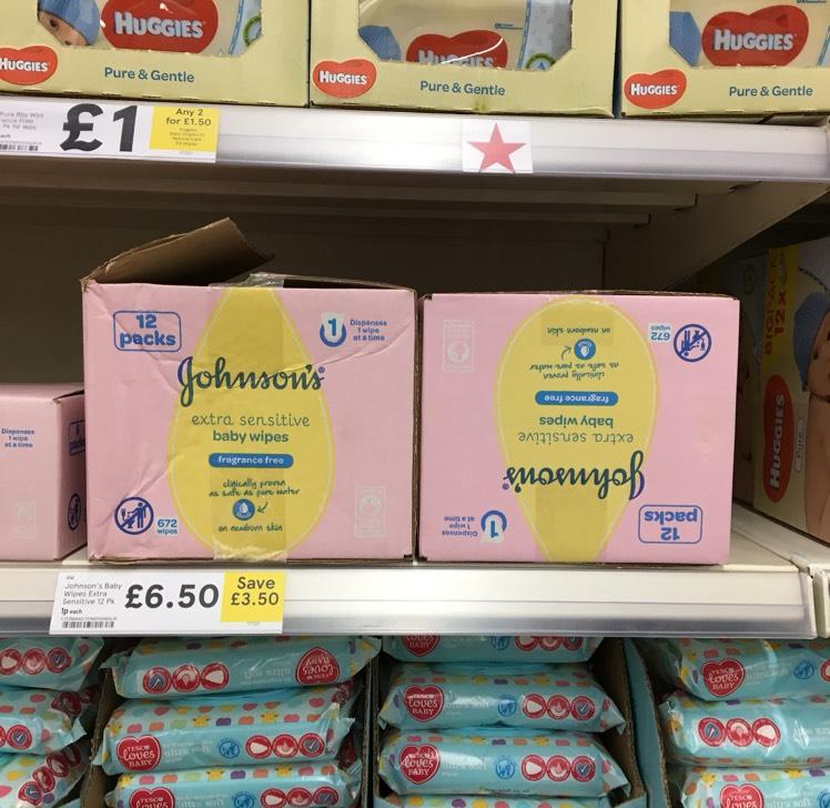 Johnson's 12 x Extra Sensitive Baby Wipes 56 (672 wipes) - £6.50 @ Tesco