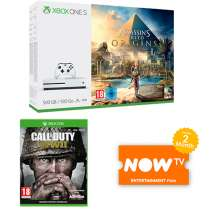 Xbox One S 500GB with Assassins Creed Origins + COD WWII + 2 Months Now TV Ent Pass £199.99 / Xbox one S + AssCreed Origins + COD WWII + Extra Controller + Now TV pass £229.99 / Xbox One S 1TB w/ AssCreed + COD WW2 + R6 + Now TV Pass  £229.99 @ Game