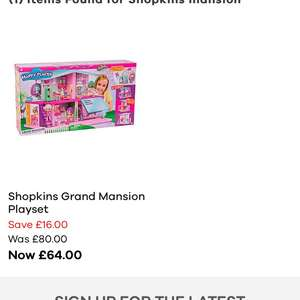 Shopkins Mansion £51.20 at JD Williams use CODE RGHR6