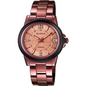 Casio Ladies Sheen Bronze Watch with Swarovski Elements now only £49 & Free Next Day Delivery @ Watches2U (Using code)