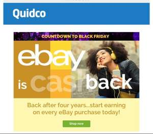 Earn 5% Cashback on EBay purchases with Quidco for 4 days...