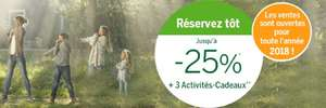 25% off + 10% off for guests over 55 e.g  5 bedroom premium cottage in Center Parcs De Kempervennen via the French centre Parcs site for £755.05 for 4 nights