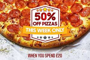 1 large pizza, plus the Ultimate Dippin' Box. - 2 Sides + 4 Dips £17 / 1 large pizza, 1 classic side, 1 chicken side, and a 1.5 Litre drink £18.99 /  50% off Pizza when you spend £20 @ Pizza Hut
