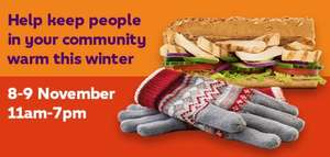 Subway give gloves get subs 8-9 November 11-7