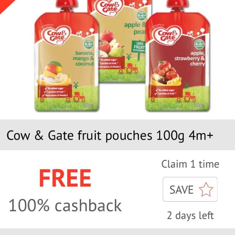 Free Cow & Gate Fruit Pouches via Checkoutsmart