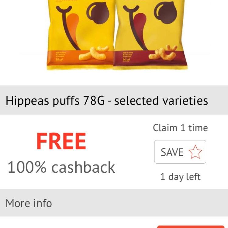 Free Hippeas puffs via Checkoutsmart