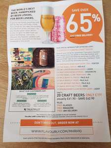 20 Craft beers Inc tasting glass and free delivery £19 @ Flavourly