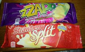 Zzapp & Strawberry split ice lollys 6 for £1 at heron foods