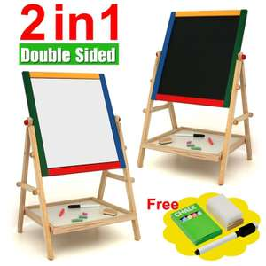 Wooden 2 In 1 Blackboard / Magnetic Whiteboard Easel + Chalks / Sponge + Pen £10.95 Del @ Ebay (sold by Homes-Store)