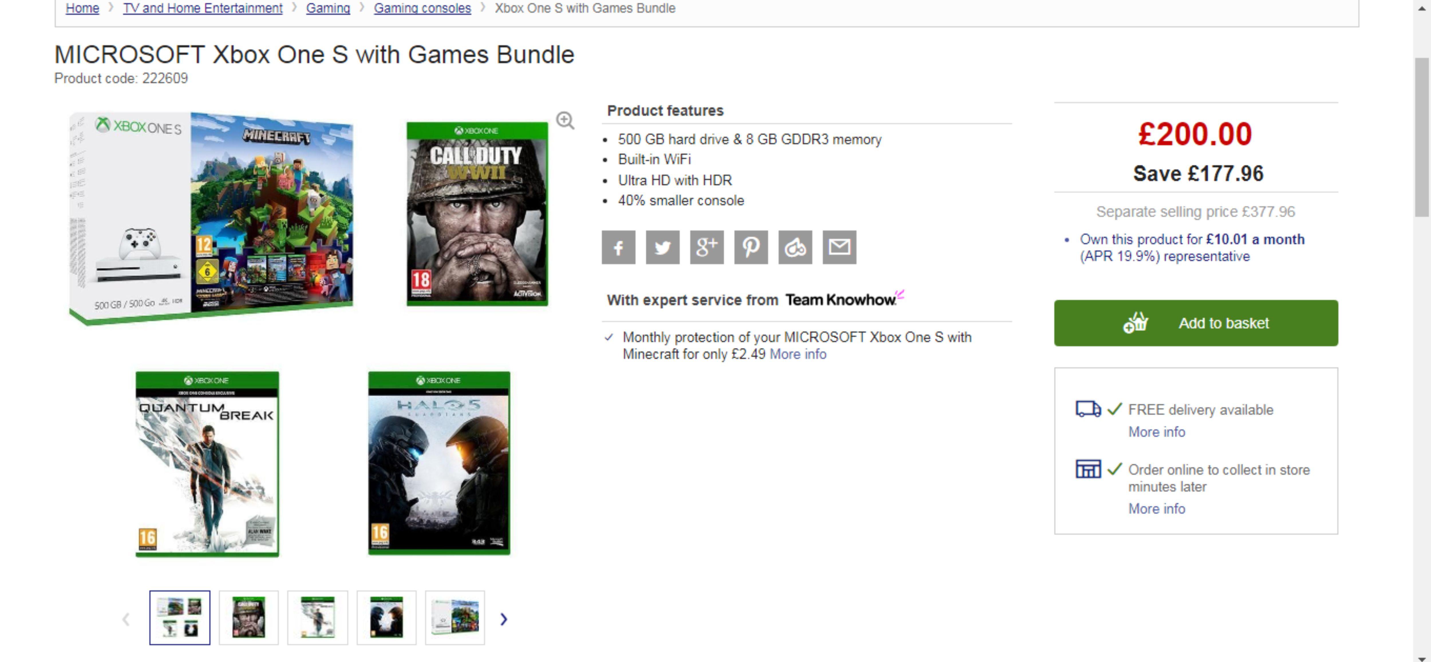 Xbox One S 500gb Minecraft Bundle with COD WWII, Halo V & Quantum Break - £200 - Currys