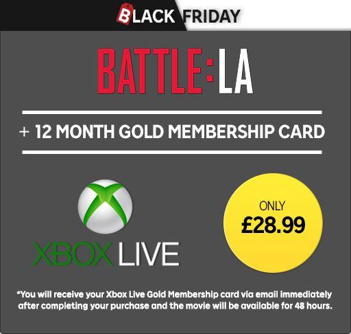 Black Friday offer - Battle: LA HD Movie rental plus 12 Months Xbox Live Gold Membership now £28.99 / Chromecast 2 + The 5th Wave HD Movie £21.99 @ Rakuten TV