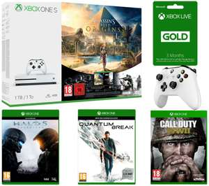 Xbox One S 1TB with Assassin's Creed Origins & Tom Clancy's Rainbow Six Siege + 3 Month LIVE Subscription + Extra Wireless Controller + Halo 5: Guardians + Quantum Break + Call of Duty: WWII £248.51 @ Currys