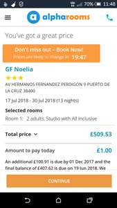 3 stars GF NOELIA HOTEL. July 17.07.Tenerife Puerto de La Cruze. 13 nights All inclusive for 2 adults £509 Alpharooms.