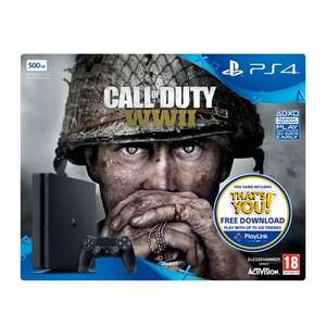 Playstation 4 500GB Black Slim Console with Call of Duty WWII  + That's You Game download £209.99 @ Very