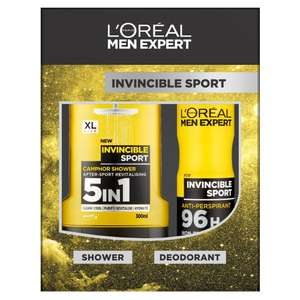 Full size products for bargain L'Oreal Men Expert Invincible Sport 2-Piece Gift Set £1.56 free delivery for prime / £6.31 non prime @ Amazon