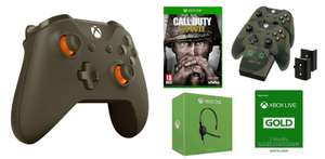 Xbox One Military Green Special Edition Controller + Call of Duty: WWII + Twin Docking Station - Camo Edition + 3 Months Xbox Live + Chat Headset £99 @ Tesco Direct