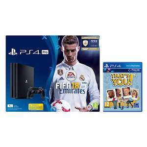 Sony PlayStation 4 Pro Console, 1TB, with DUALSHOCK 4 Controller and FIFA 18, Jet Black and THAT'S YOU! £300.98 @ John lewis