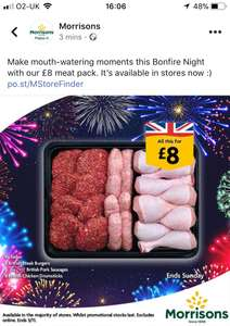 Bonfire night meat pack - 8 British steak burgers, 8 The Best British pork sausages and 8 British chicken drumsticks £8 in store @ Morrisons