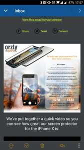 Orzly iPhone X Tempered Glass Screen Protector £2.98 sold and dispatched by Orzly - Amazon
