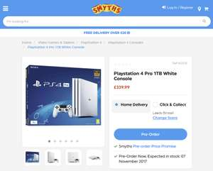 White PS4 pro out on the 7 of November £339.99 @ Smyths