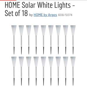 Home 18 white ( or Colour Changing ) Solar lights half price £12.49 @ Argos