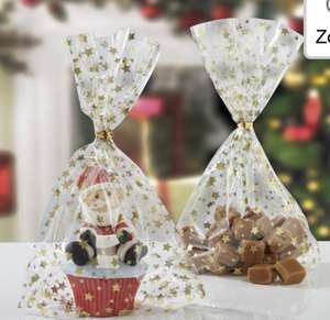 Pack of 12 Clear Cellophane Gold Star Bags at Studio £1.99 Free Delivery Code