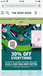 Spend £30 at body shop get 30% off plus free gift worth £20 plus free delivery