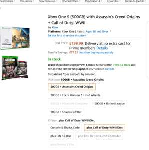 XBOX ONE S 500GB with Assassins Creed Origins and Call of Duty WW2 or FIFA 18 £199 at Amazon!