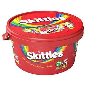 Skittles Tub Fruits And Sours Funsize Tub 754G (4 Tubs - so over 3kg of Skittles) - £6.18 (Add on item) @ Amazon