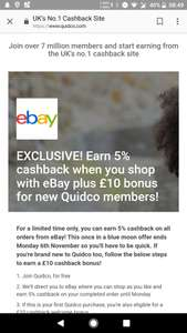 FREE £10 to spend on eBay + 5% cashback through quidco (new members)
