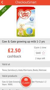 £2.50 off on Cow&Gate growing up milk