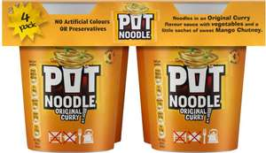 Pot Noodle Original Curry (4 x 90g) was £3.90 now £2.00 (so 50p each) (Rollback Deal) @ Asda