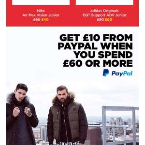£10 off from PayPal when spending £60 or more from jd sports