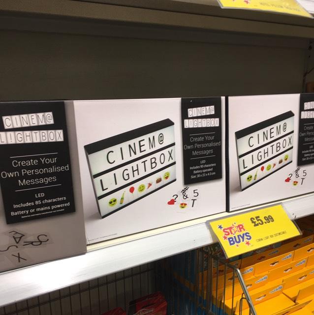 Cinema lightbox message led board £5.99 instore at home bargains