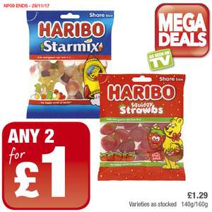 Haribo Starmix and Squidgy Strawbs was £1.29 now any 2 for £1 Varieties as Stocked. (140g/160g)​ @ Premier Food Stores