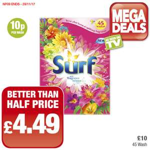 Surf (45 Wash) Better than Half Price was £10.00 now £4.49 @ Premier Food Stores